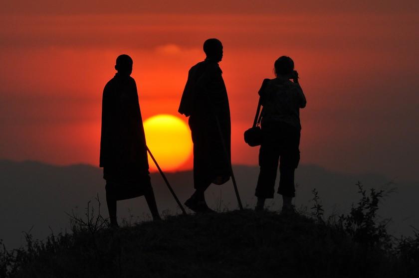 Massajer i solnedgång